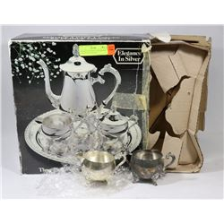 VINTAGE ELEGANCE IN SILVER 3PC COFFEE SET W/ ROUND
