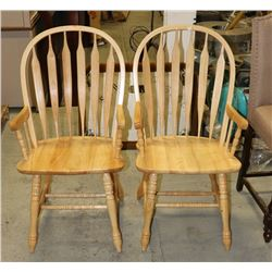 PAIR OF ARROWBACK SOLID WOOD ARM CHAIRS