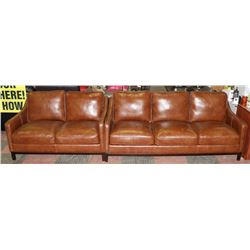 """NEW BROWN LEATHERETTE 79"""" SOFA WITH 55"""" LOVE SEAT."""