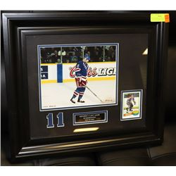 FRAMED MARK MESSIERS LAST GAME WITH ROOKIE CARD
