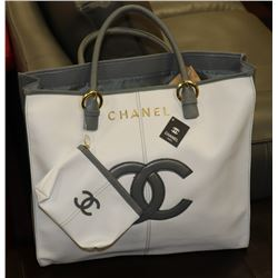 CHANEL REPLICA WHITE AND GREY TOTE BAG WITH