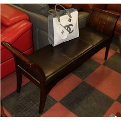 WOOD AND BLACK LEATHERETTE HALL BENCH