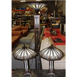 3 PC TIFFANY STYLE LAMP SET INCL 2 TABLE LAMPS AND