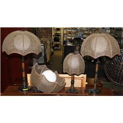 WOOD AND WICKER 4 PC LAMP SET