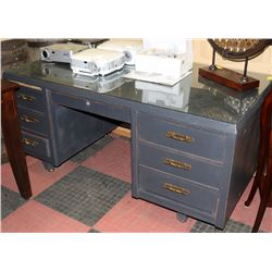 SOLID WOOD OFFICE DESK WITH GLASSTOP