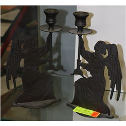 CAST METAL ANGEL CANDLE HOLDERS MADE IN ITALY