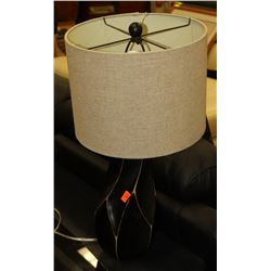 BLACK LAMP WITH CANVAS SHADE