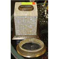 STONE AND BRASS TISSUE DISPENSER AND SOAP DISH