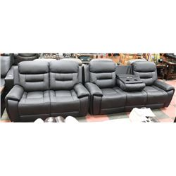NEW MONROE BLACK GENUINE LEATHER RECLINING