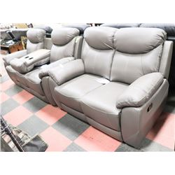 NEW CAMROSE GREY GENUINE LEATHER RECLINING