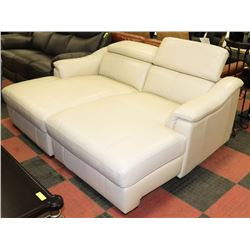 NEW OFF WHITE GENUINE LEATHER LIFT BACK LOUNGE