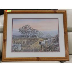 ESTATE WOOD FRAMED COUNTRY SCENE FRAMED PICTURE