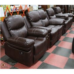NEW NORWICH BROWN LEATHERETTE 3 PIECE RECLINING