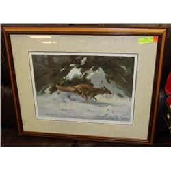 "FRAMED AUTOGRAPHED NUMBERED PRINT ""THE CHASE"""