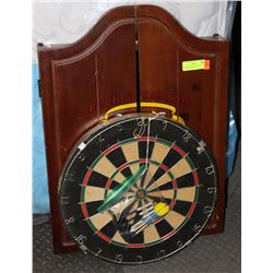 DARTBOARD WITH WOOD DART CABINET & 2 SETS OF