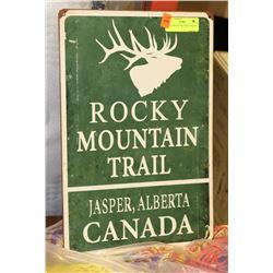 ROCKY MOUNTAIN TRAIL TIN SIGN.