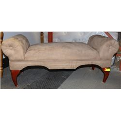 """BROWN FABRIC CHAISE 43""""W X 17""""D X 16""""H"""