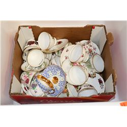 FLAT OF CUPS AND SAUCERS, MOSTLY ENGLISH