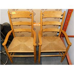 2 SOLID WOOD RATTAN CHAIRS