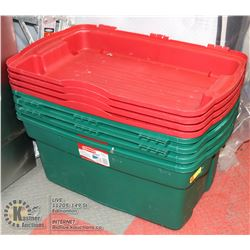 LOT OF 4 GREEN AND RED PLASTIC STORAGE TOTES