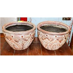 "2 BROWN CERAMIC PLANTERS 10""H X 15""W"