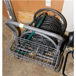 HEAVY DUTY METAL HOSE CADDY WITH HOSE