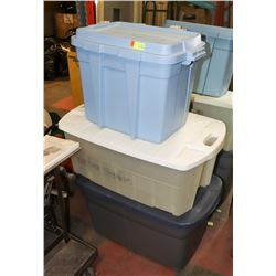 LOT OF 3 ASSORTED PLASTIC STORAGE TOTES