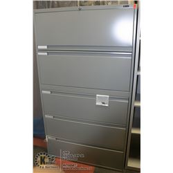 NEW GLOBAL GREY 5 DRAWER FILING CABINET