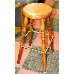 WOOD AND BRASS BAR STOOL
