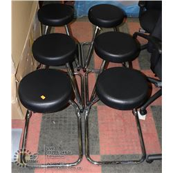 LOT OF 6 BLACK LEATHERETTE AND CHROME STOOLS
