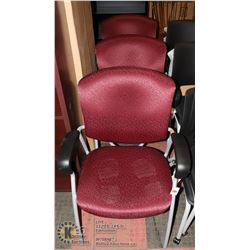LOT OF 3 RED/BLK/GREY DELUXE WAITING ROOM