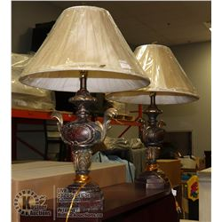 PAIR OF TABLE LAMPS, RED ANTIQUE LOOK