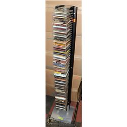 CD RACK & CD'S INCLUDES KING OF LEON, RADIO HEAD &