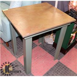 "ESTATE LEAF DESIGN WOOD HALL TABLE, 28""X24""X30.5""."