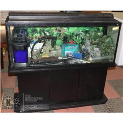 45 GALLON FRESH WATER AQUARIUM W/ CABINET