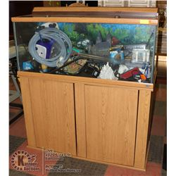 90 GALLON FRESH WATER AQUARIUM W/ CABINET