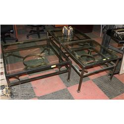 3PC METAL COFFEE TABLE/END TABLE SET W/ GLASS TOPS