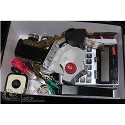 BOX WITH OFFICE SUPPLIES AND HOUSEHOLD MISC