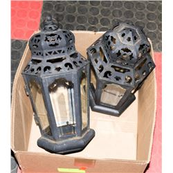 2 OUTDOOR IRON AND GLASS LANTERNS