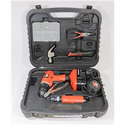 BLACK AND DECKER 18 V DRILL AND TOOL KIT