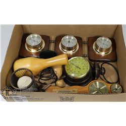 BOX OF 1970'S BAROMETERS, THERMOMETERS AND MORE