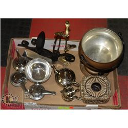 FLAT WITH CHAFING FUEL POTS, AND BRASS FONDUE POT