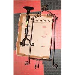 WROUGHT IRON CANDLE HOLDER & DÉCOR ITEMS