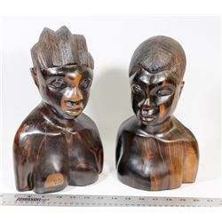 VINTAGE AFRICAN MAHOGANY CARVINGS OF MAN AND WOMEN