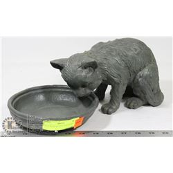 GREY RESIN KITTEN AND BOWL