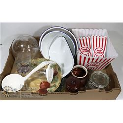 ESTATE FLAT OF KITCHEN & SERVING ITEMS, INCLUDES