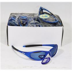 BOX OF OAKLEY STYLE OCEAN BLUE DESIGNER SUNGLASSES