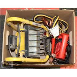 BOX OF BOOSTER CABLES, WORKLIGHT & EXTENSION CORD