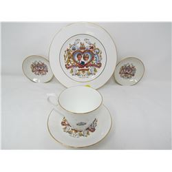 LOT OF 5 PRINCE CHARLES AND LADY DIANNA COLLECTORS DISHES (ROYAL KENDAL)