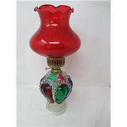 OIL LAMP (VERY UNIQUE AND STUNNING COLORS) *INSIDE PAINT HAS SOME FLAKING ISSUES*